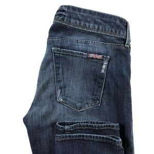 Hudson Skinny Dark Wash Distressed Jeans